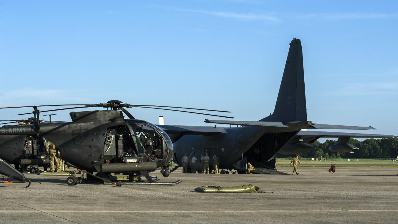 MH-6 Little Bird on the flight line