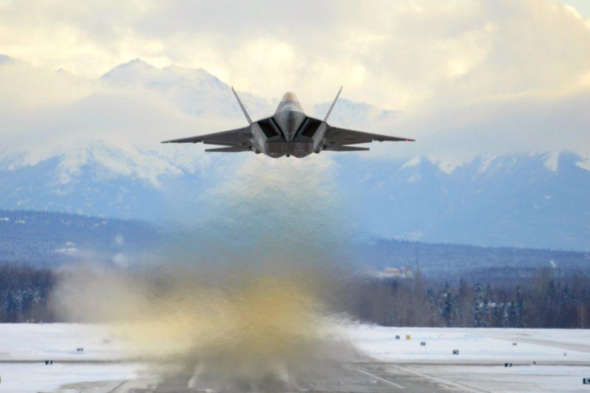 F-22 Raptor over runway in Alaska