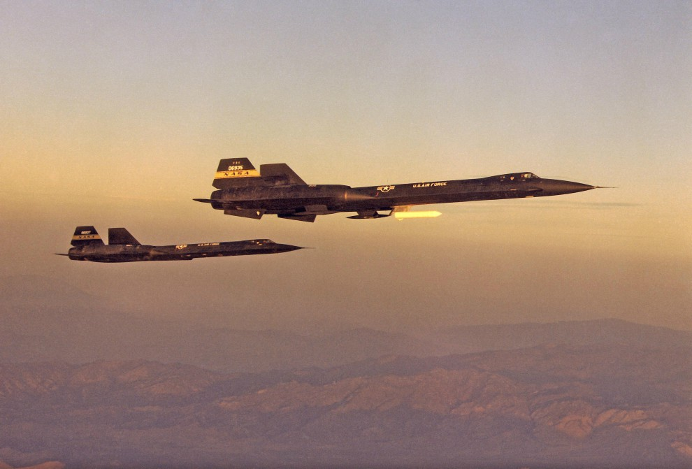 YF-12A and YF-12C in flight