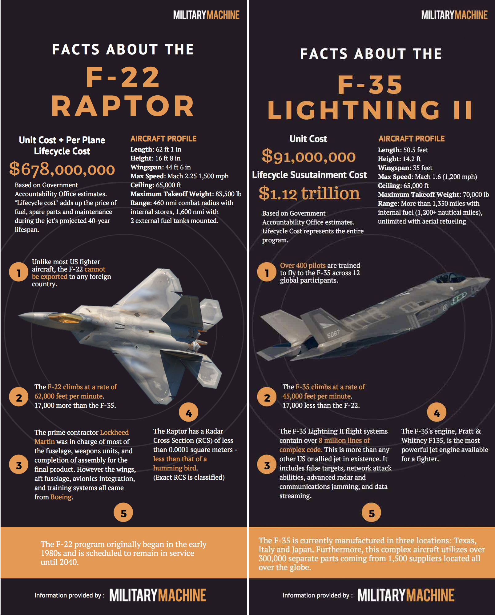 F-22 Raptor vs F-35 Lightning | Cost, Performance, Size, Top Speed