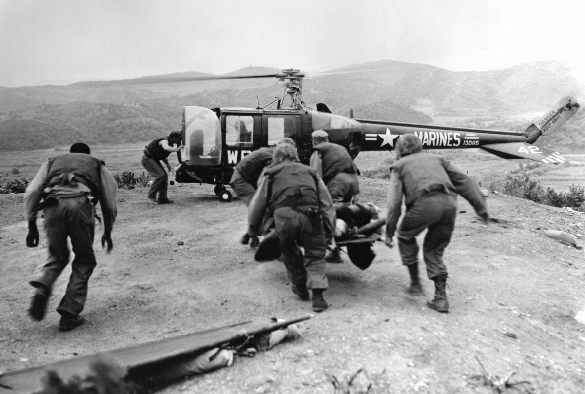 Marine HO5S-1 of VMO-6 evacuates wounded - marine helicopter