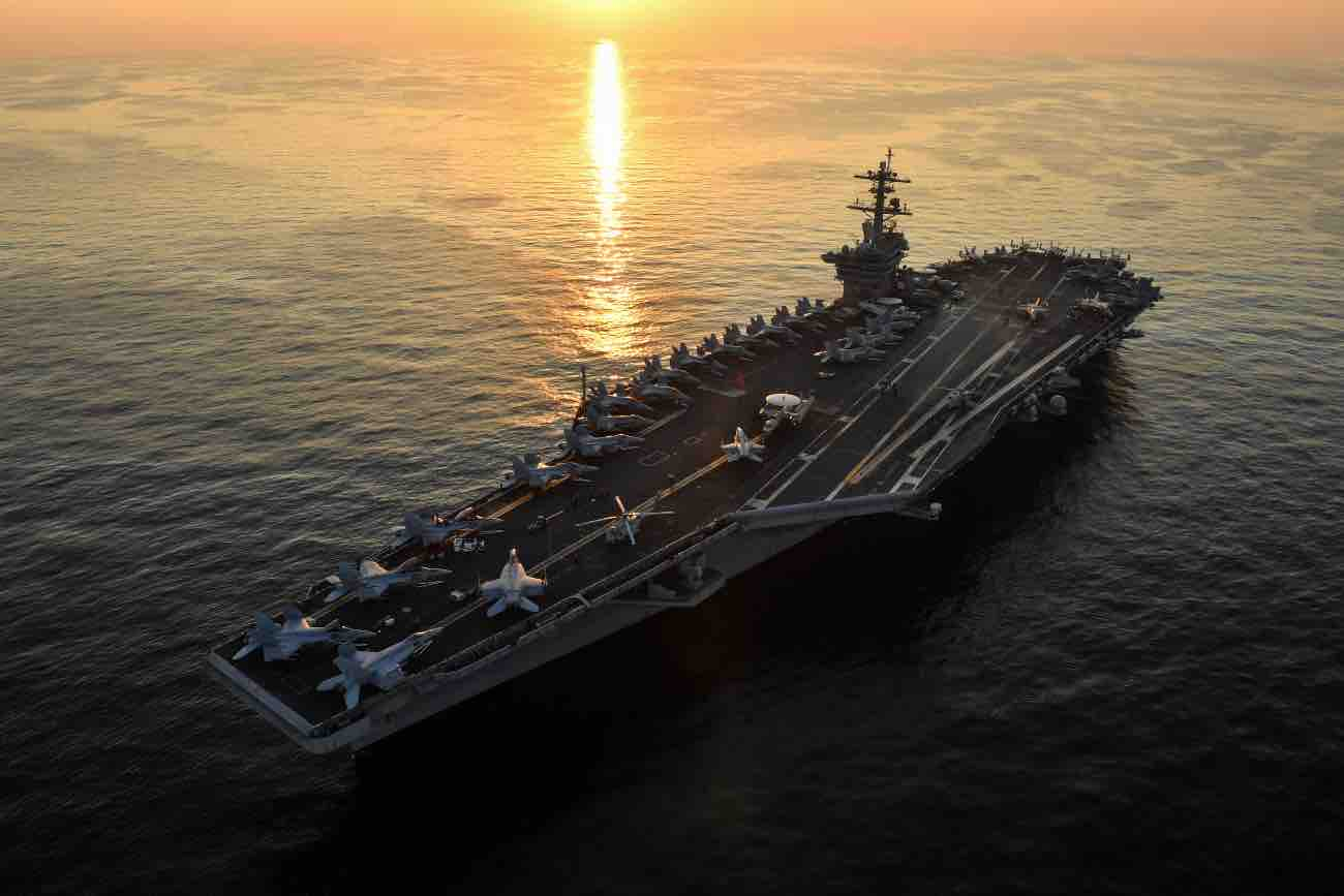 USS Theodore Roosevelt at dusk