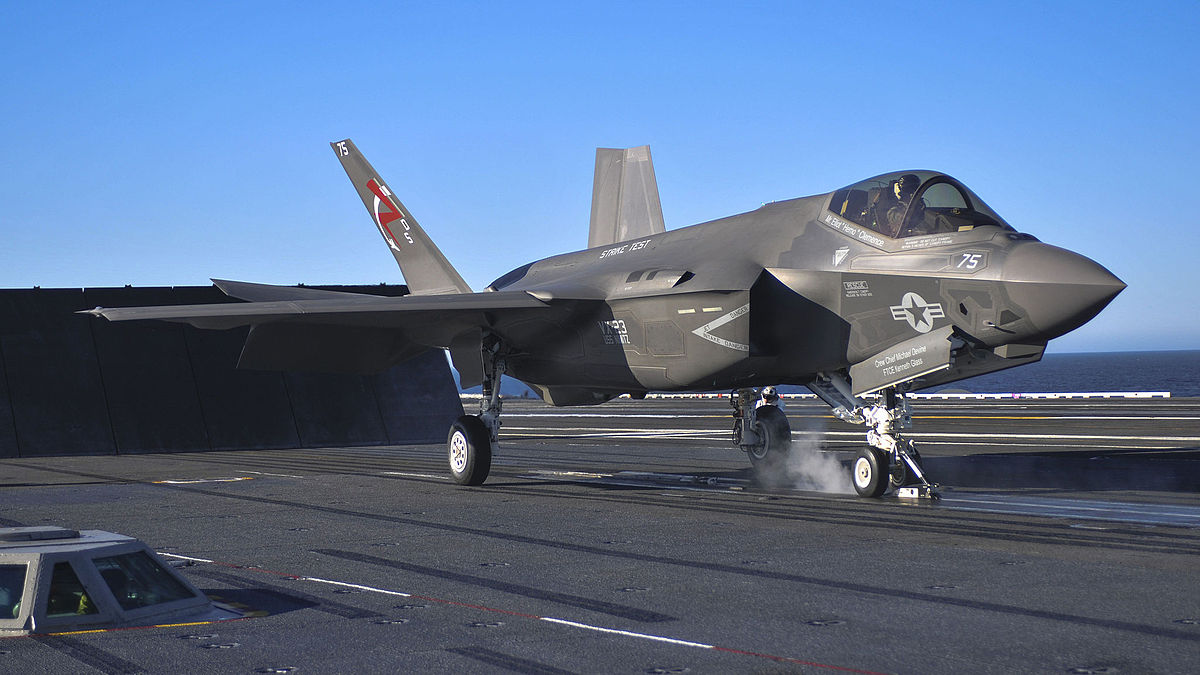 F-35C on the flight deck of a carrier