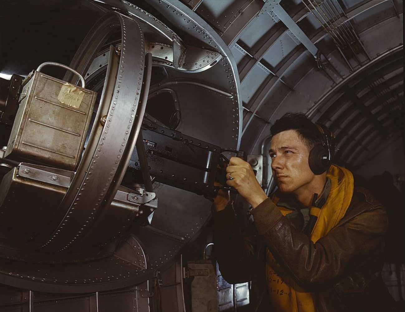 B-17 machine gun, colorized WWII photos