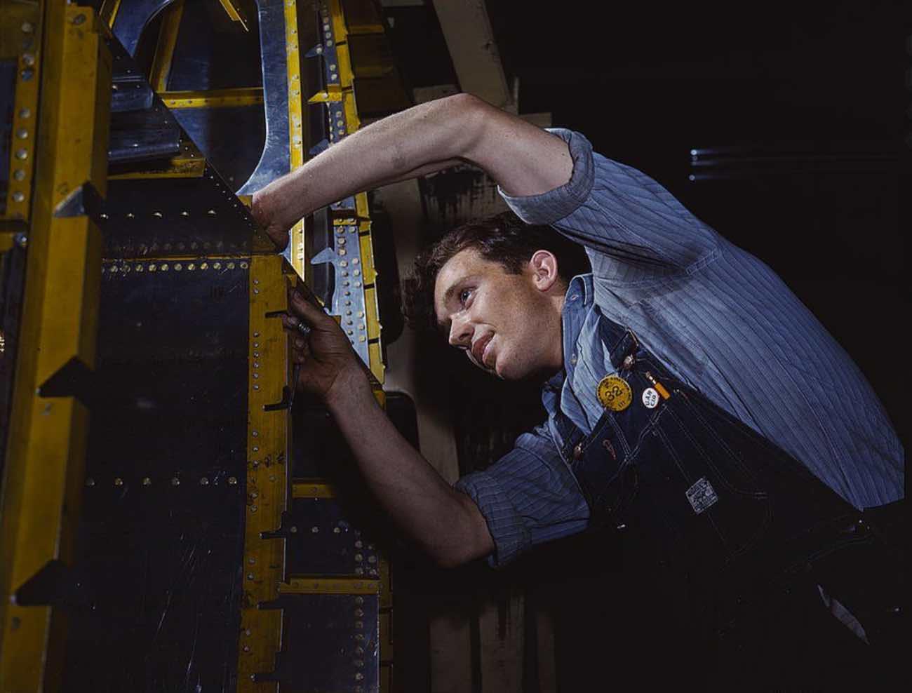 B-25 wing brace maintenance, colorized WWII photos