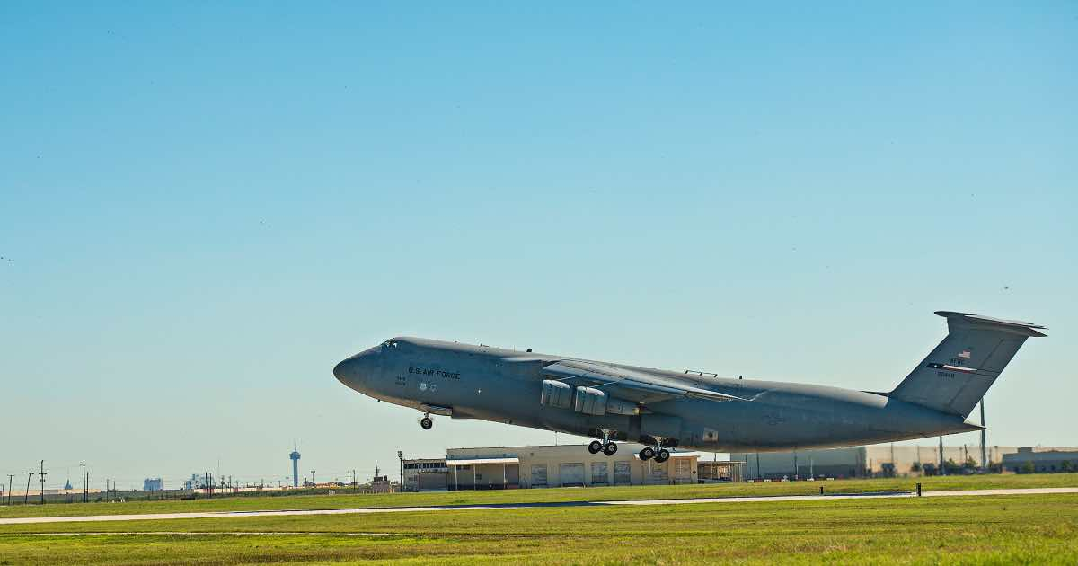 C-5 leaving San Antonio AFB