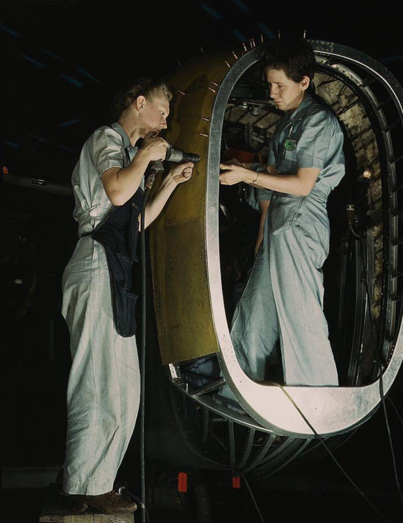 Women working on Liberator Bomber