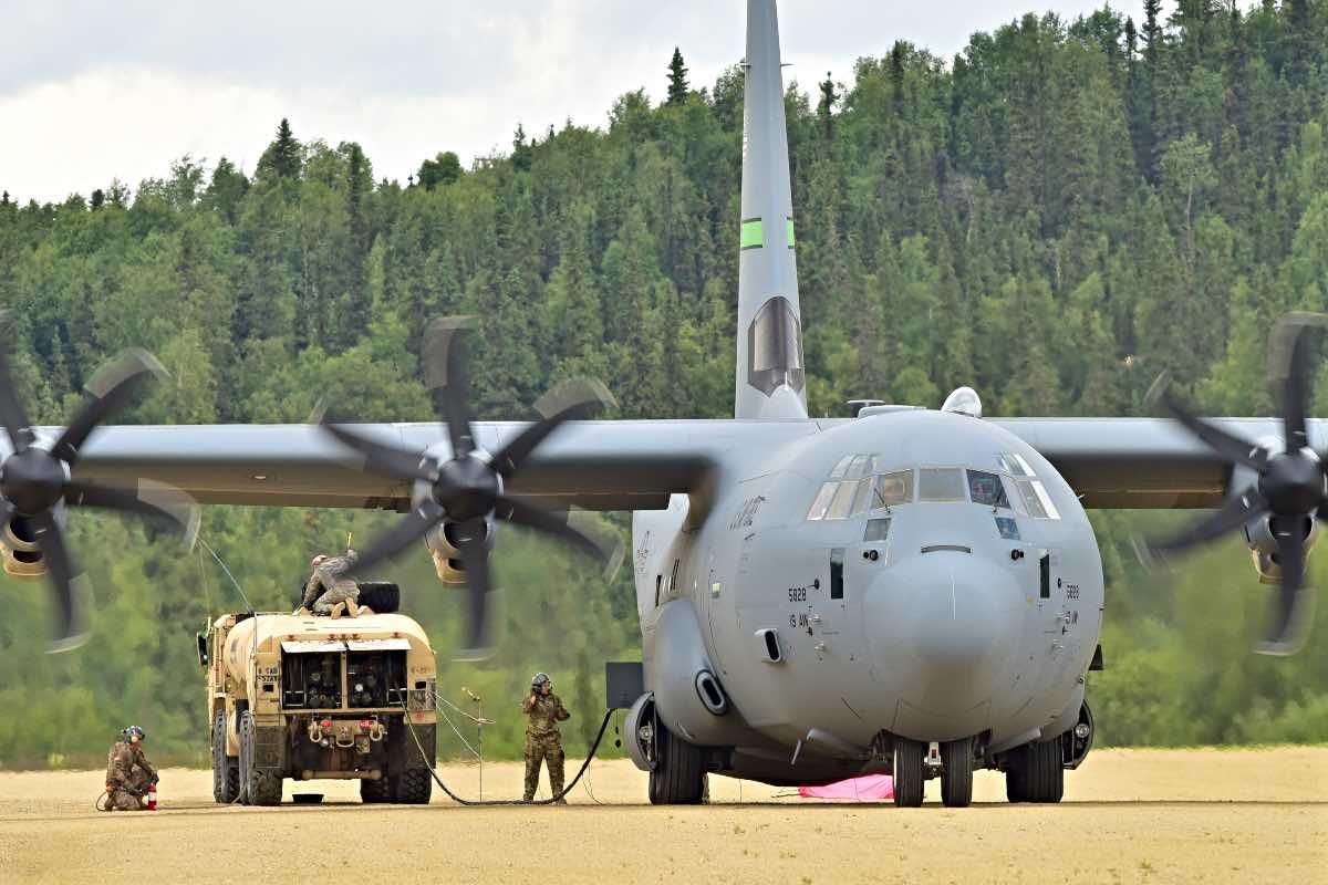 C-130 downloading fuel