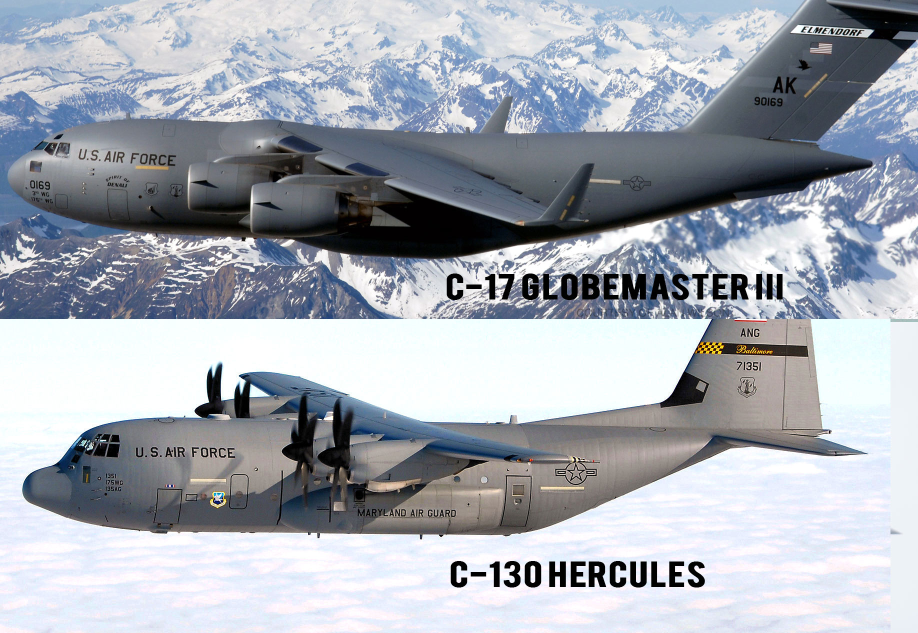 U.S. Air Force • C-17 Globemasters IIIs and C-130 Hercules