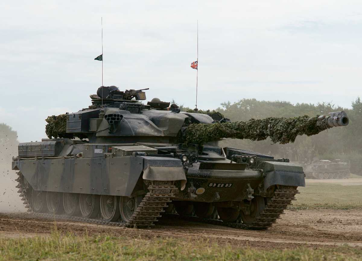 Chieftain tank in action at the Bovington Tank Museum.