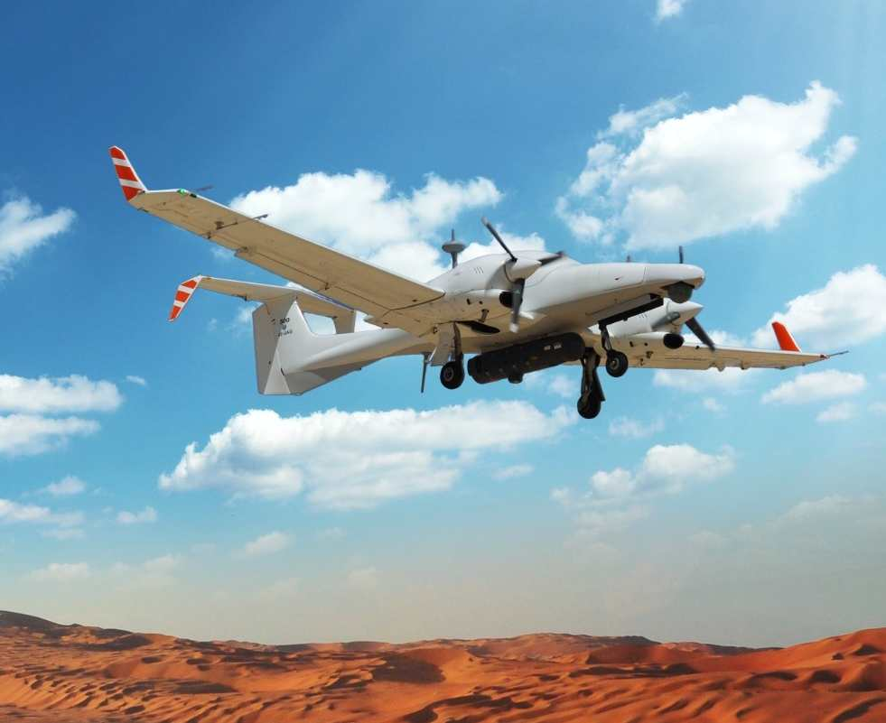 Aeronautics Defense Dominator XP flies over an Israeli desert. The MALE UAV is manufactured by Aeronautics Defense Systems