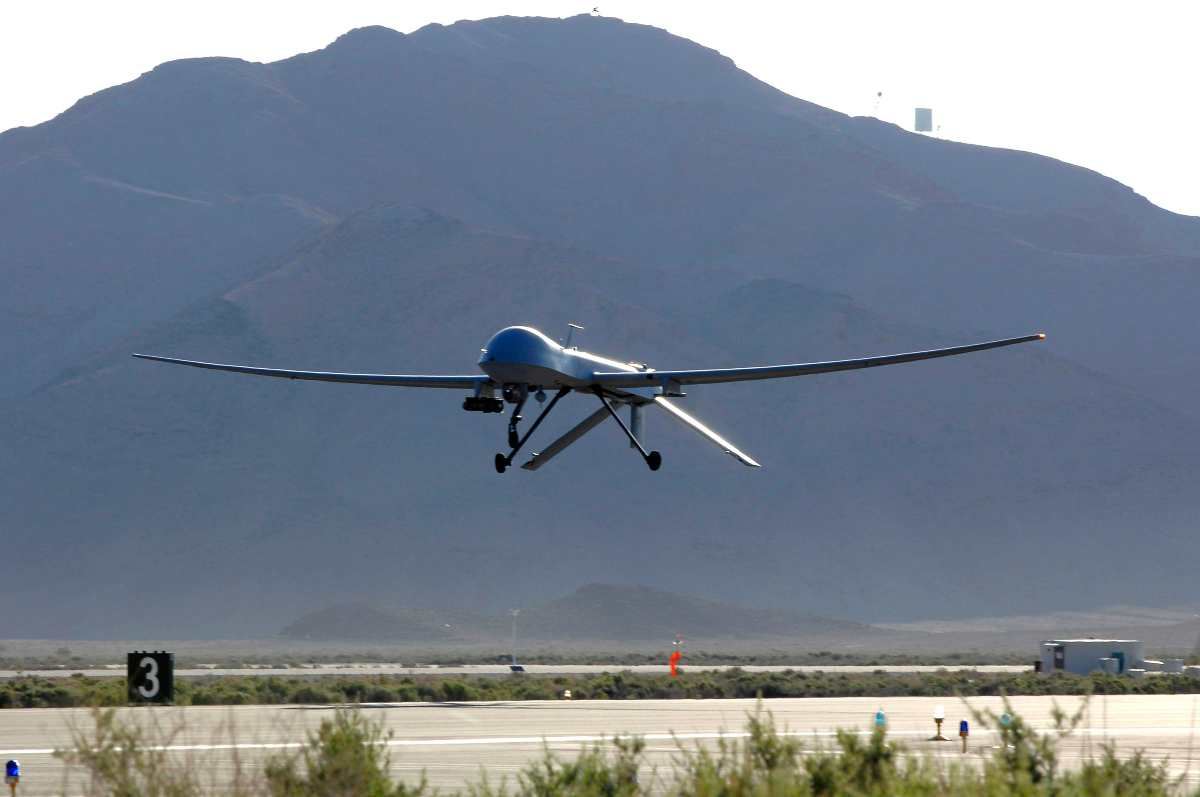 MQ-1B Predator takes off from Creech Air Force Base.