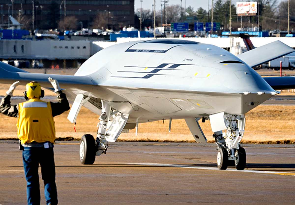 The tanker drone MQ-25 Stingray taxis on the runway before a test flight. (most expensive military drones)