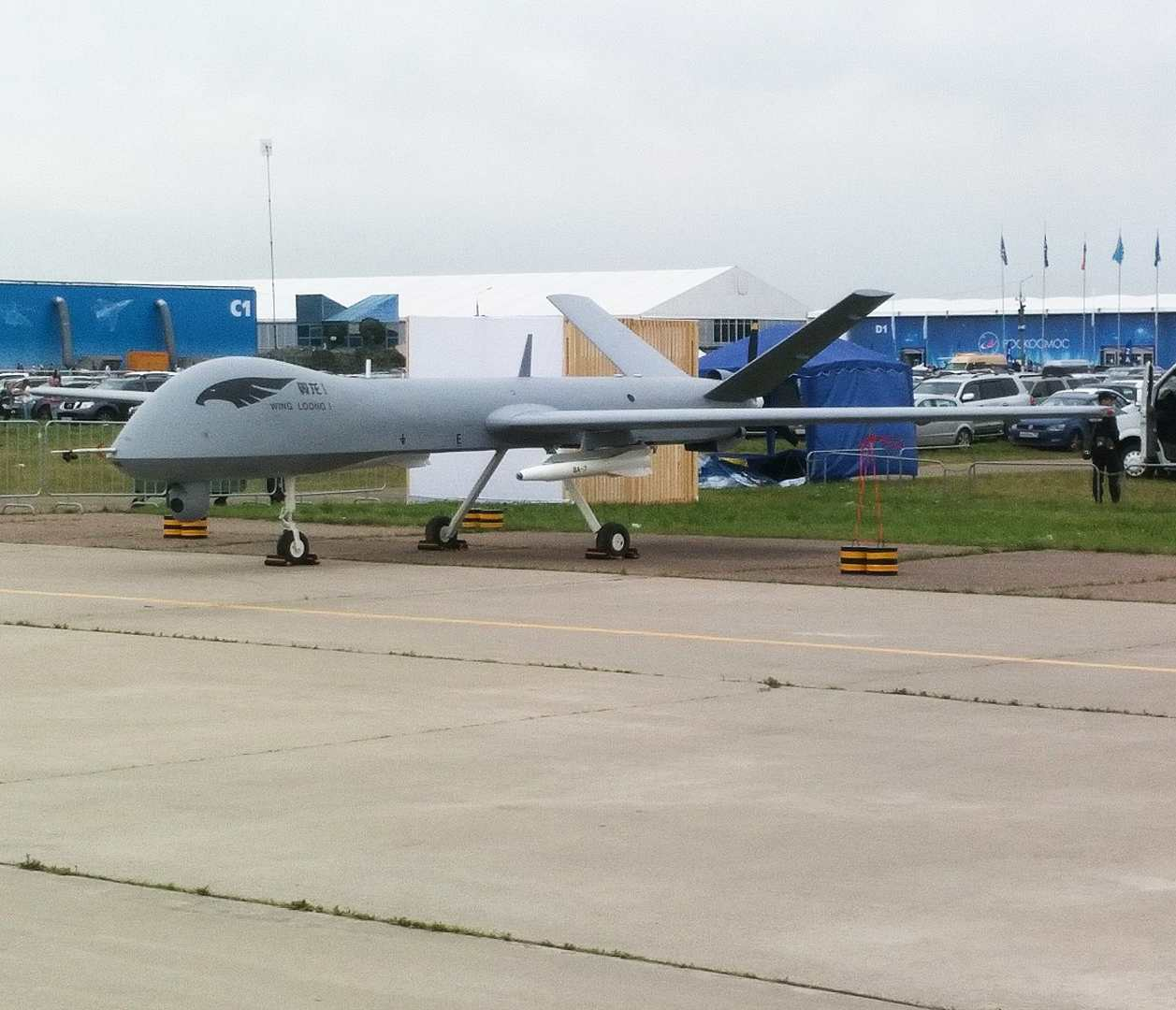 Chengdu Pterodactyl I a.k.a. Wing Loong UAV side view at a recent airshow.