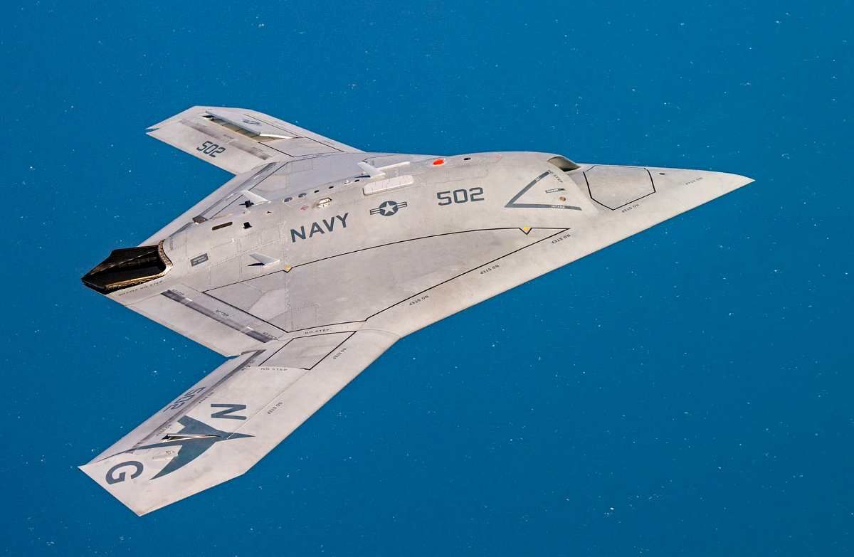 A unmanned X-47B operating over the Atlantic Test Range (most expensive military drones)