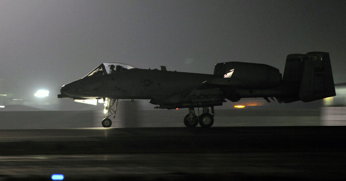 A-10 Warthog returns to Bagram Airfield, Afghanistan, from a night mission