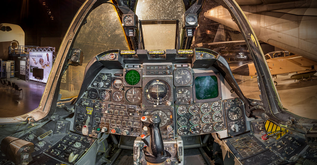 National Museum of the United States Air Force Fairchild Republic A-10A Thunderbolt II cockpit view