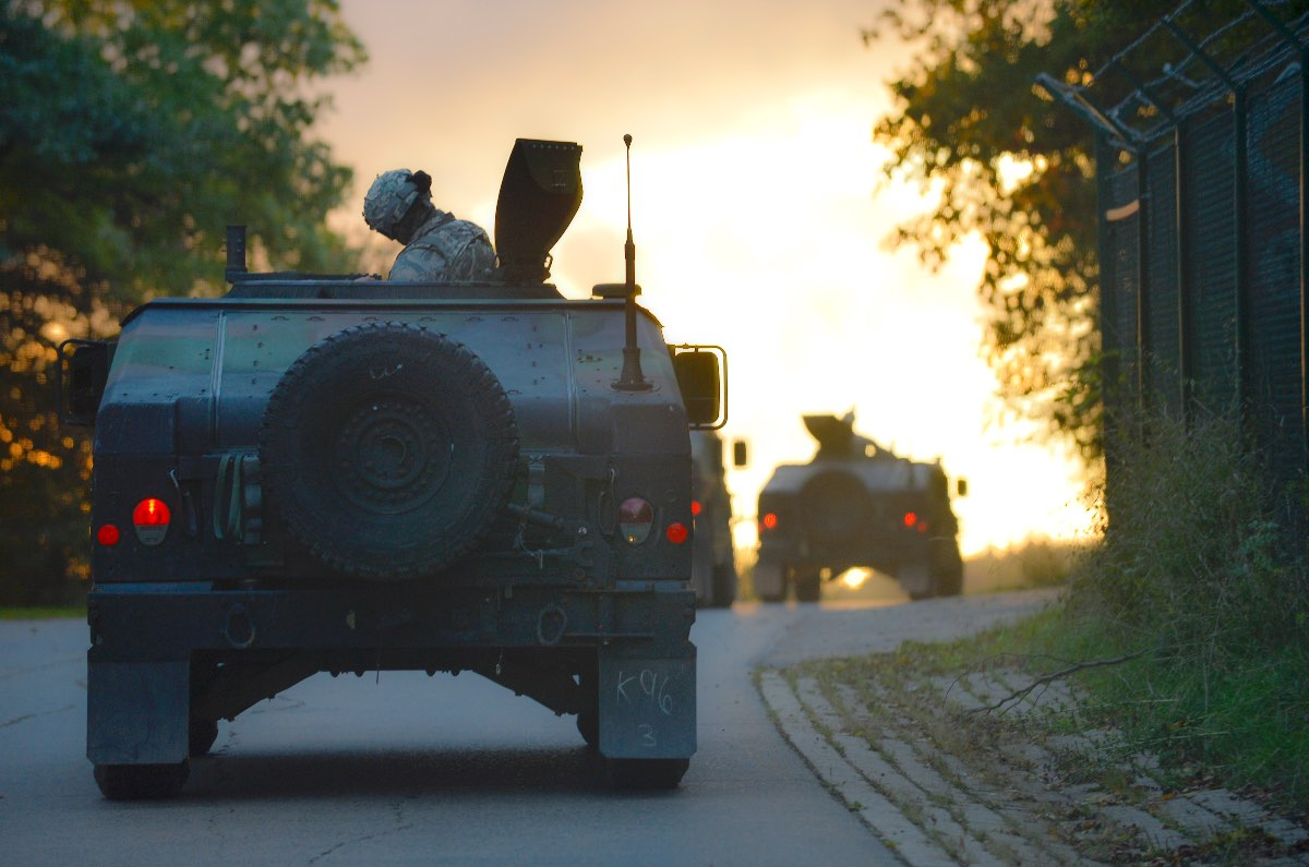 Humvee at sunset