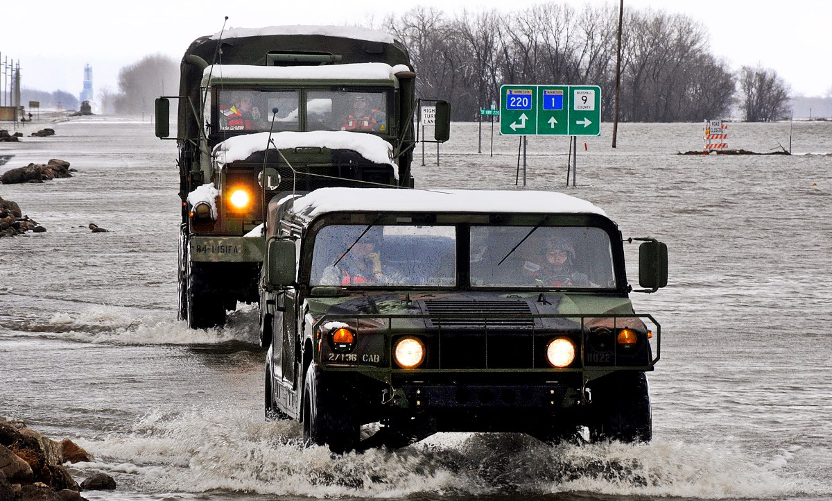 Humvee types, Humvee fords through snow and flood