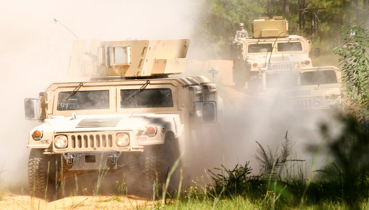 Humvee with gunner armor