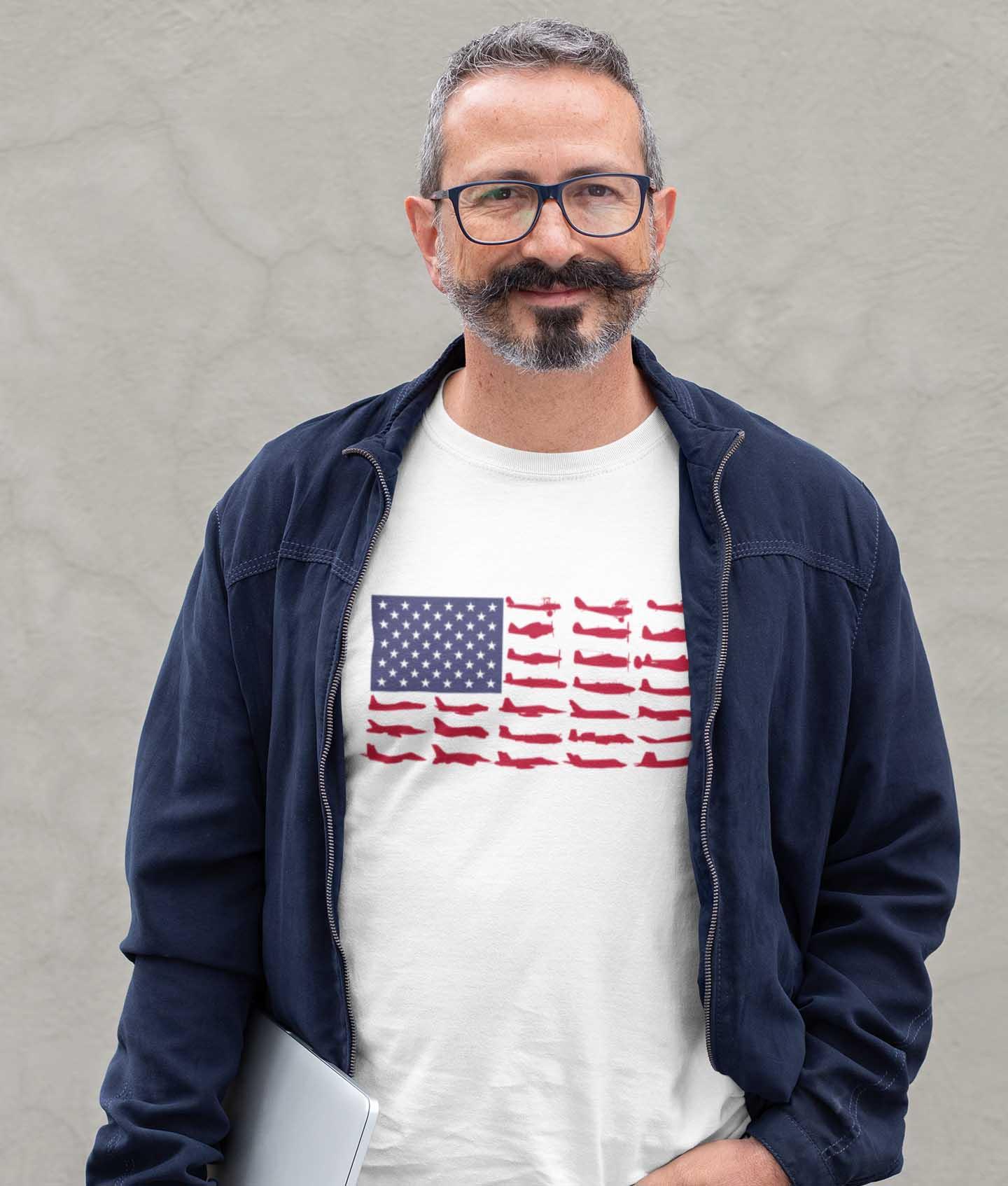 american flag aircraft t shirt